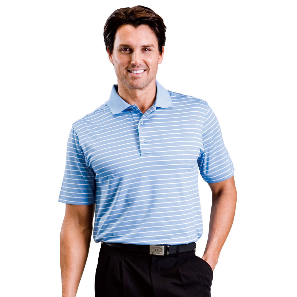 monterey club mens dry swing texture single stripe polo