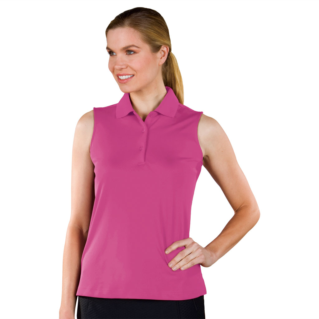 Monterey club ladies solid pique sleeveless classic golf for Ladies sleeveless golf polo shirts
