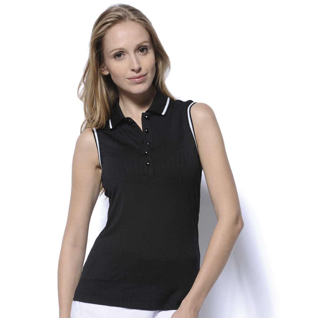 Monterey club ladies sleeveless contrast silver tip collar for Ladies sleeveless golf polo shirts