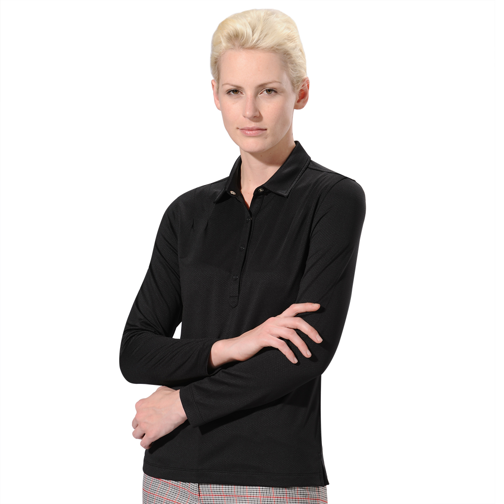 Monterey Club Ladies Honeycomb Texture Shoulder Double Pleated Shirt #